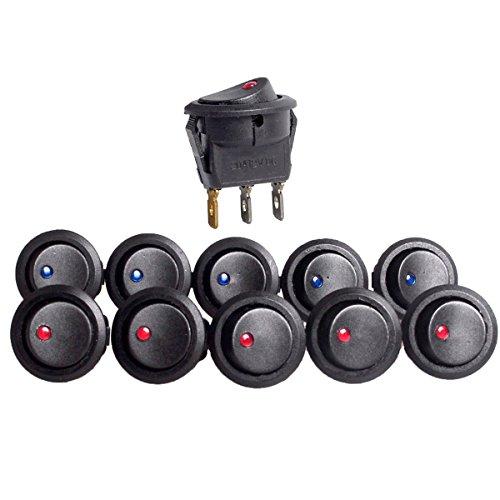 (Conwork 10-Pack 20A 12V Round Rocker Toggle Switch Blue and Red LED SPST)