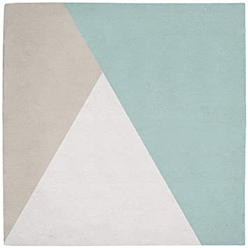 lilipinso tapis coton triangles gris et mint by claudia soria 150 x150 cm - Tapis Vert D Eau