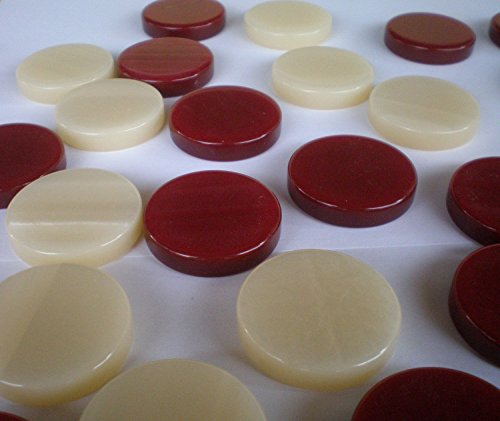 (Manopoulos 30 Acrylic Backgammon Checkers - Chips Red & Ivory 1.4 inches)