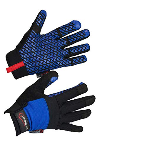 SAFE HANDLER Super Grip Gloves | Textured Grip Palm, Non-Slip Texture, Hook & Loop Wrist Strap, BLACK/BLUE, L/XL (Best Gloves For Automotive Work)