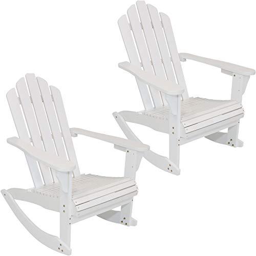 Sunnydaze Outdoor Wood Adirondack Rocking Chair, White, Set of ()