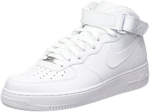 Nike Men's Air Force 1 Mid 07 Sneakers, White/White (US 12) (Nike Air Force One Purple And Gold)