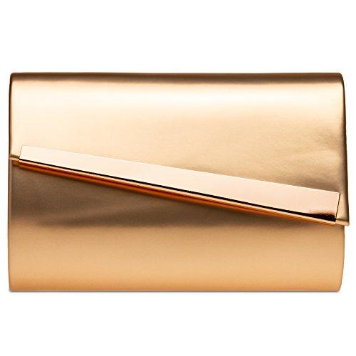 CASPAR femme TA428 sac pour à femme sac de Champagne de métallique pour soirée Pochette soirée clutch main FgFxfr