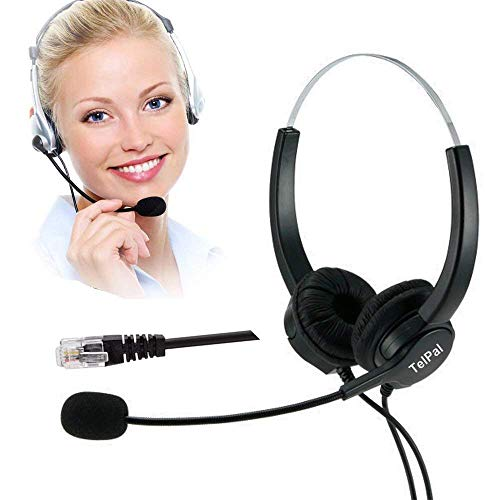(TelPal Hands-Free Call Center Noise Cancelling Corded Binaural Headset Headphone 4-Pin RJ9 Crystal Head Mic Mircrophone Desk Phone - Telephone Counseling Services, Insurance, Hospitals)