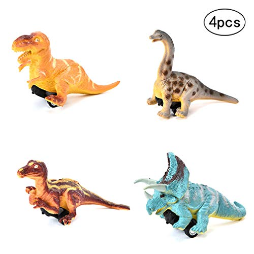 Wenosda 4pcs Pull Back Dinosaur Cars Dragon Truck Toy Dino Race Vehicle with Tire Wheel for - Push Toy Dragon
