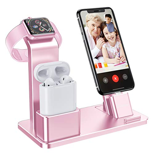 (YoFeW Charging Stand for Apple Watch Charger Stand Aluminum Dock Holder Compatible for iWatch Apple Watch Series 4/3 / 2/1/ AirPods/iPhone X/XS/XS Ma /8 / 8Plus / 7/7 Plus /6S /6S Plus)