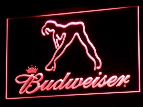 a133 Budweiser Exotic Dancer Stripper Bar LED Neon Sign with On/Off Switch 7 Colors to choose (Red)