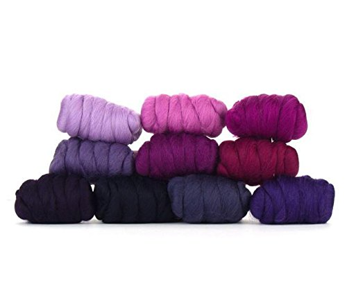 Paradise Fibers Mixed Merino Wool Bag - Very Berry - Merino Wool Fiber Lot Perfect for Needle Felting, Wet Felting, Hand Spinning, and Blending ()
