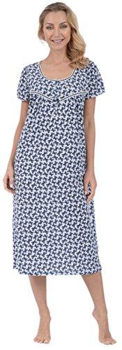 Pink Lady Women's Long Nightgown Nightie Sleep Dress (Blue Butterflies Small) - Knit Butterfly Gown
