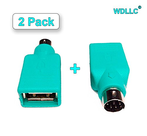 (WAREHOUSEDEALS USB Female to Ps2 PS/2 Male Mouse Keyboard Pc Computer Converter Adapter Plug (2 Pack))