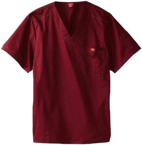 Dickies Men's Generation Flex Utility Scrubs V-Neck Shirt, Wine, Medium