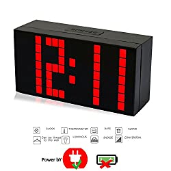 T Tocas Desk / Wall Clock 4 Digital LED Snooze Alarm Clocks Thermometer Date with Power Cord Red