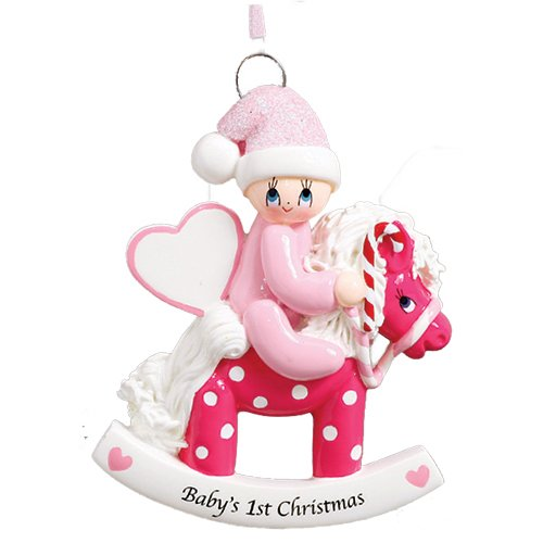 - Personalized Baby's 1st Christmas Rocking Pony Tree Ornament 2019 - Girl Glitter Hat Heart Ride Polka Dot Horse Candy-Cane New Mom Shower Grand-Daughter - Free Customization (Pink)