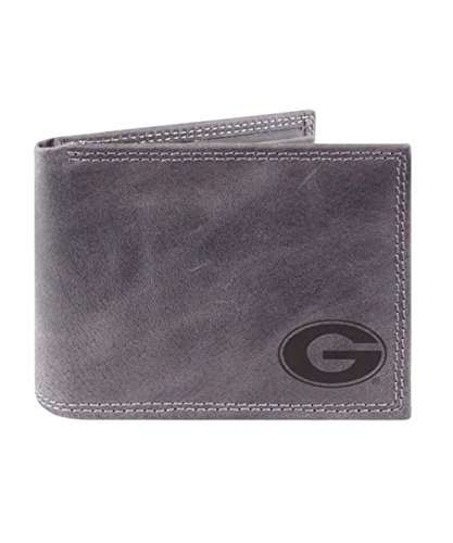 All Pro Leather Football (Zeppelin NCAA University Of Georgia Grey Passcase Wallet Embossed With G, 4