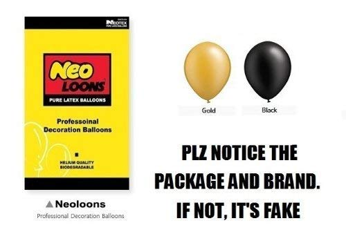 Neo LOONS 10 inch Pearl Black /& Gold Premium Latex Balloons for Birthdays Weddings Receptions Baby Showers Decorations Pack of 100