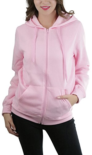 ToBeInStyle Women's Medium Weight Long Sleeve Zip Up Hoodie - Pink - Small
