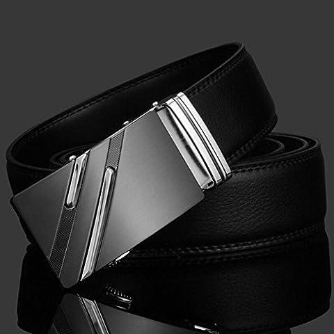 Luxury Men's Genuine Leather Automatic Buckle Black Waist Strap Belt Waistband, 100% Brand new & high (Allen Edmonds Belt 50)