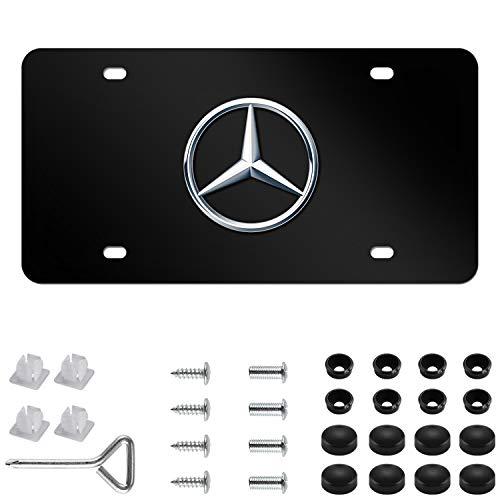 Mercedes Benz Logo Black Stainless Steel Front License Plate with Caps CLA CLS C E S SL SLK GL for Mercedes Benz (DIY Logo)