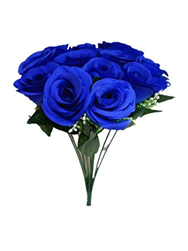 Sweet-Home-Deco-14-One-Dozen-Sweet-Roses-Silk-Artificial-Bouquet-Blue-12-Stem12-Flower-HeadsValentines-DayWeddingHome-Decorations-Blue