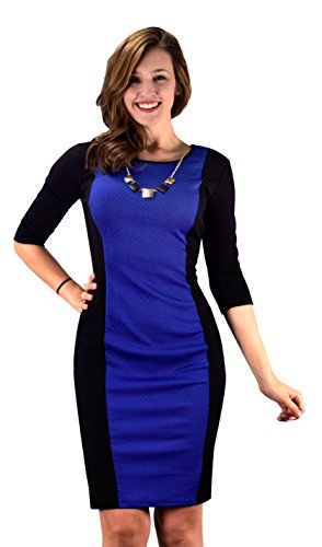 Peach Couture 3/4 Sleeves Chic Printed Work Business Party Sheath Slimming Dress Blue Black XL Couture Black Dress