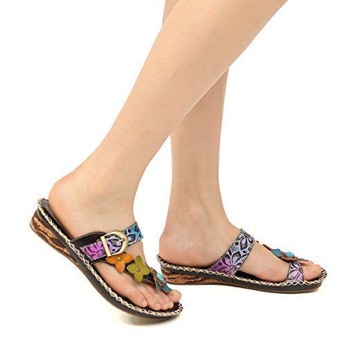 gracosy Sandals for Women Leather Slippers Mule Clogs Shoes Ladies Mid Wedge Heel Slip On Toe Post Summer Mules Sandals Shoes Flower Splicing Casual Sandals Bohemian Beach Shoes Black MOw2Y