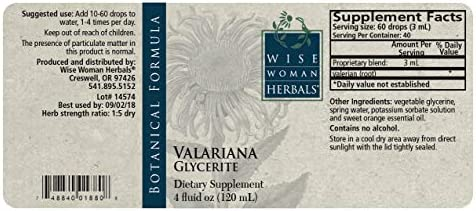 Wise Woman Herbal Valeriana Glycerite 4 fl oz Valerian Root Herb, All-Natural Sleep Aid Supports a Healthy Restful Sleep, Calm and Relaxation, Natural Relaxant Ease Mild Muscle Tension