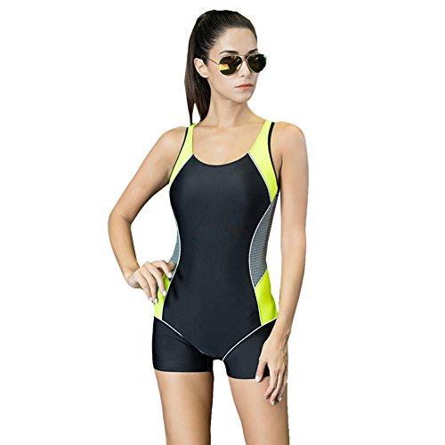 ishine badeanzug damen figurformend bademode einteiler schwimmanzug sport swimsuit boyleg gelb. Black Bedroom Furniture Sets. Home Design Ideas