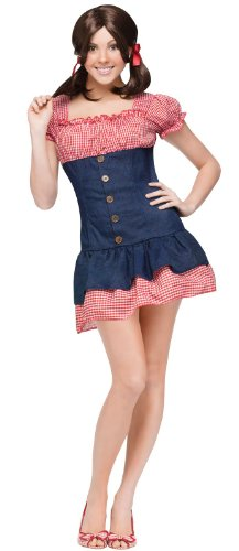 FunWorld Mary Ann Gilligan Island Costume, Red/Blue,