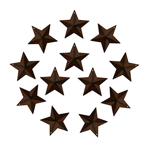 Ornament Rusty Star - CVHOMEDECO. Rustic Primitive Antique Vintage Gifts Rusty/Black Small Metal Barn Star Wall/Door Decor, 2-1/2 Inch, Set of 12.
