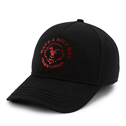 (True Religion Men's Have A Nice Day Ball Cap, Black,One Size Fits All)