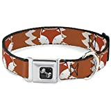 Buckle-Down Fox Face/Tail Orange/Natural Dog Collar Bone, Medium/11-17''
