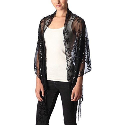 Women's Abstract Floral Sequin Decor Evening Wrap Shawl Party Scarf with Tassel (Black)