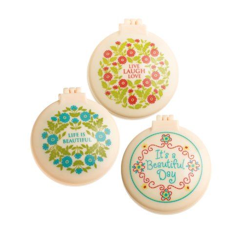 Floral Design Compact Mirror - Grasslands Road Spring Meadow Compact Pop Up Hair Brush with Mirror Assortment, 2-Inch, Set of 36