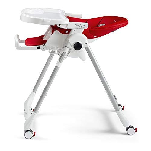 rot Lederimitat-Bezug Hochstuhl mit Baby-Liegefunktion und 4 Doppelrollem mit Bremsen Fragola Peg Perego Prima Pappa Follow Me