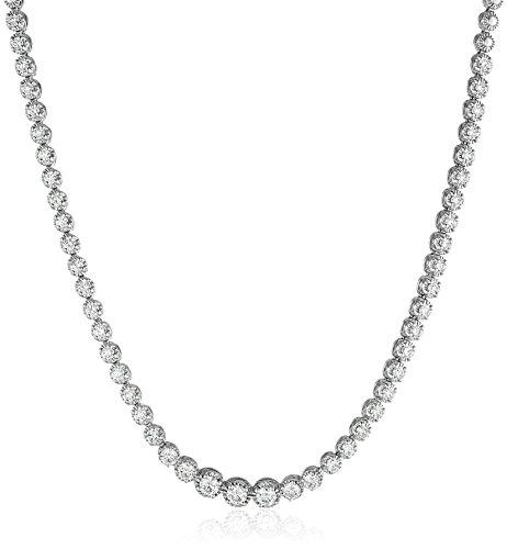 Necklace Diamond Gold Tennis White - 14k White Gold Diamond Tennis Necklace (3 cttw, K-L Color, I1-I2 Clarity), 17