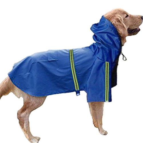GabeFish Dog Reflective Waterproof Raincoats Pets Puppy Cats Plain Jacket Poncho Rainwear With Hood Blue 4X-Large