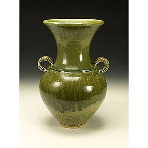 Green Ash Glazed Vessel with Handles