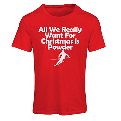 T Shirts for Women All We Need for Christmas is Powder - Merry Xmas (Medium Red Multi -