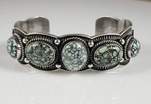 - Navajo Sterling Silver Gem Grade New Lander Row Cuff Bracelet Signed Andy Cadman