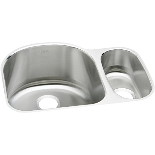 Elkay ELUH272010R Lustertone Classic Offset 70 30 Double Bowl Undermount Stainless Steel Sink