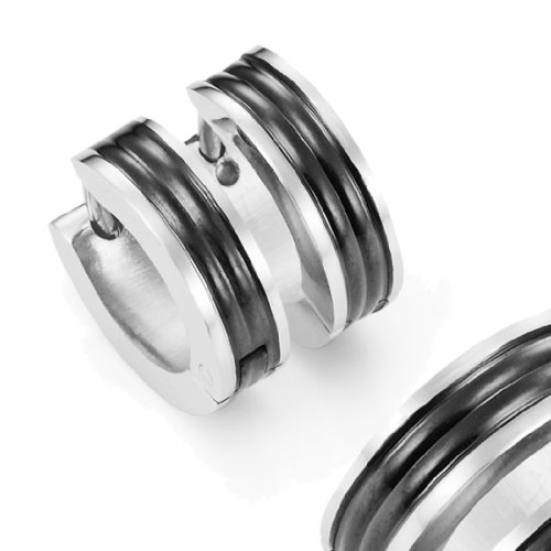 Mens Huggie Earrings in Stainless Steel Black Hoop Design 10mm (with Branded GiftBox)