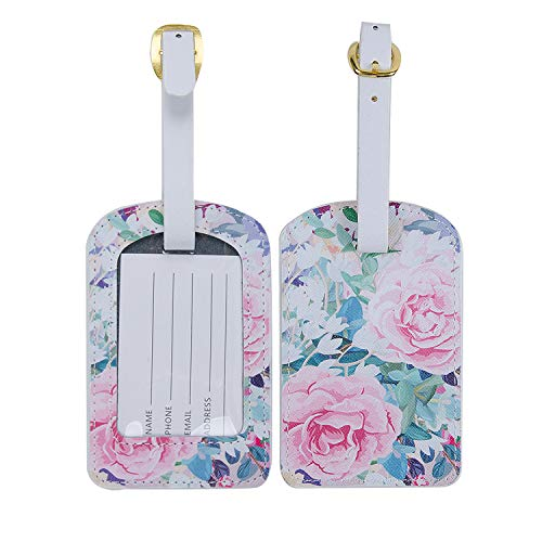 ONLVAN Tag Luggage,Travel Luggage Tags & Leather Name Tags for Luggage/Bag/Suitcase and Backpack (Colorful_Flower) - Flower Luggage Tag