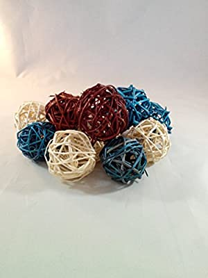 Decorative Spheres Blue Brown And Cream Rattan Ball Vase Filler Ornament Decoration Bowl Filler By Wreaths For Door