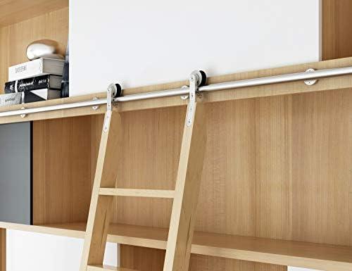 DIYHD - Escalera corredera de acero inoxidable para biblioteca (sin escalera): Amazon.es: Bricolaje y herramientas