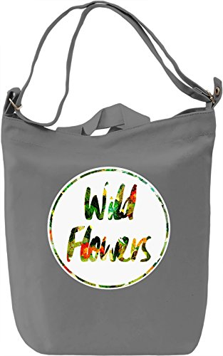 Wild Flowers Borsa Giornaliera Canvas Canvas Day Bag| 100% Premium Cotton Canvas| DTG Printing|