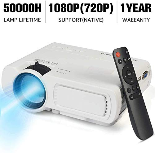 Video Projector,SeeYing 3600Lux Portable Mini Projector,1080P and 170 Display Supported,Compatible with TV Stick,HDMI,VGA,USB,TV,Laptop,DVD C80-Black