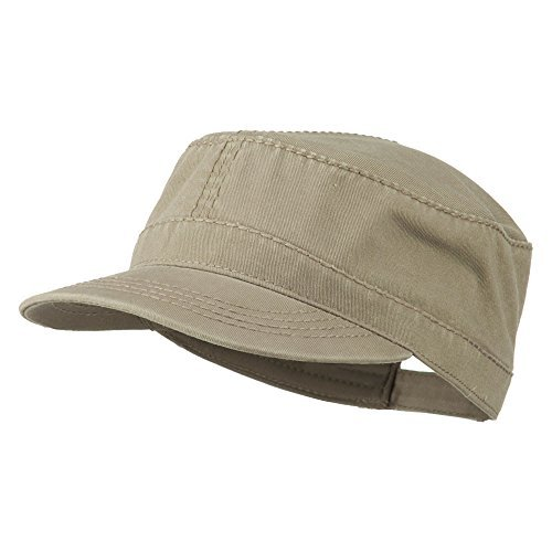 Garment Washed Heavy Stitching Army Cap - Dk Khaki OSFM