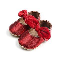 Elaco Infant Baby Girls Moccasins Anti-Slip Soft Sole Princess Shoes (6-12M, Red)