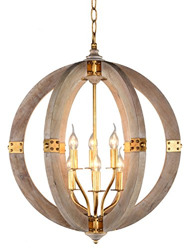 Docheer Vintage Orb Wooden Chandelier 24-Inch Wide Metal Wood Chandeliers 6-Light Rustic Iron Pendant Ceiling Hanging Swag Lamp for Living Room, Dinning Room, Kitchen, Foyer, Entryway Review