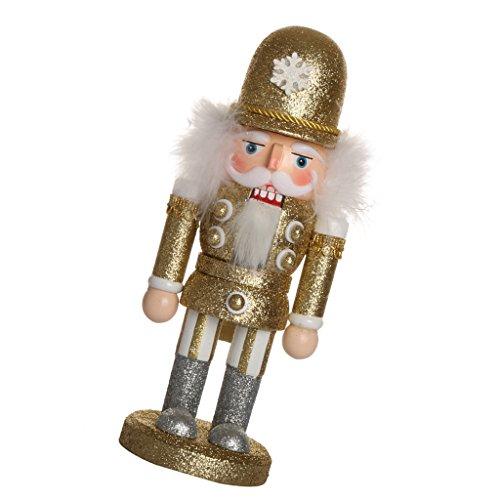 Jili Online Handpainted Wooden Golden Nutcracker Santa Claus Nut Cracker Xmas Ornament